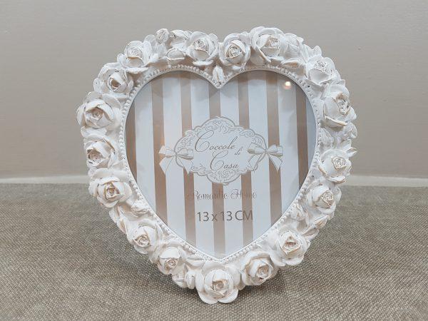 Coccole di Casa Porta foto in resina a cuore con rose