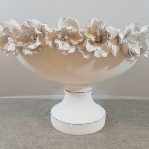 Coccole di Casa Ciotola ovale in resina con bordo con rose