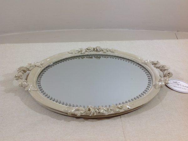 Blanc Mariclò Vassoio ovale con manici beige anticato con specchio