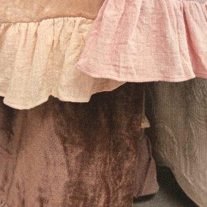 L'Atelier 17 Plaid con balza in lino colore visone