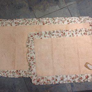 L'Atelier 17 Tappetino rosa con frappa a fiori 50x80
