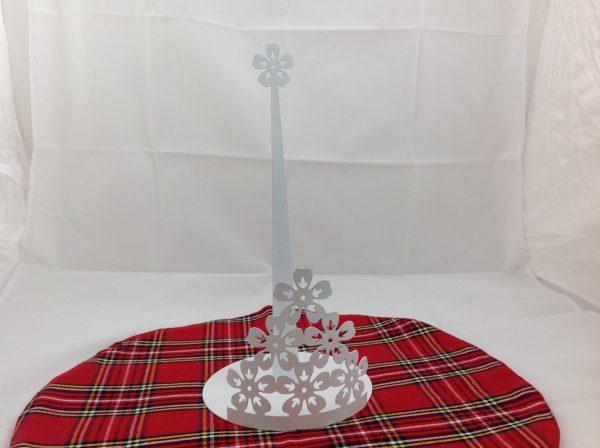 Lorenzongift Porta scottex in metallo laccato bianco con fiorellini