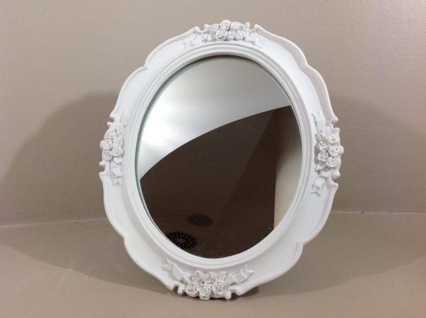 Lorenzongift Specchio ovale in resina bianca con fiorellini