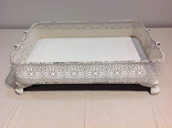 Angelica Home & Country Vassoio bianco con bordo e manici