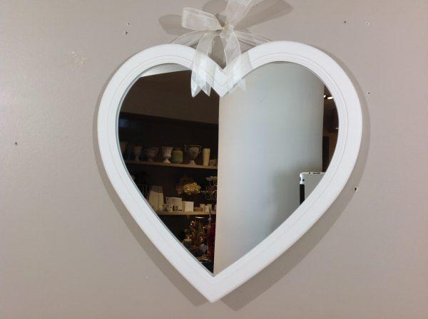 Lorenzongift Specchio a cuore con cornice bianca