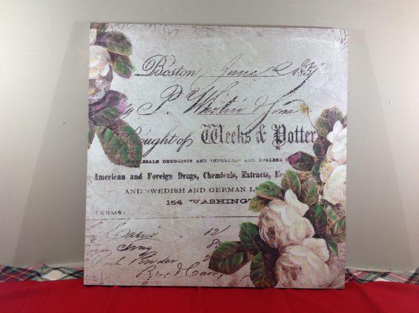Angelica Home & Country Quadro 60x60 con rose e scritte-Angelica