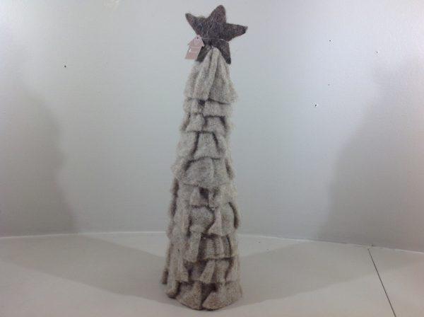Albero di natale in lana con stella marrone