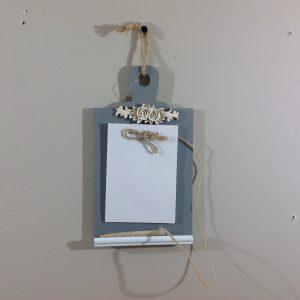 Nuvole di Stoffa Porta appunti con matita e fogli da appendere in legno grigio