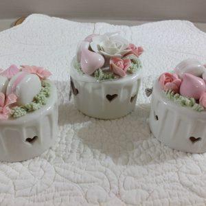 Coccole di Casa Scatolina in porcellana con led e rosa