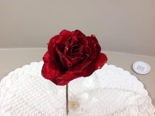 addobbo rosa rossa glitterata