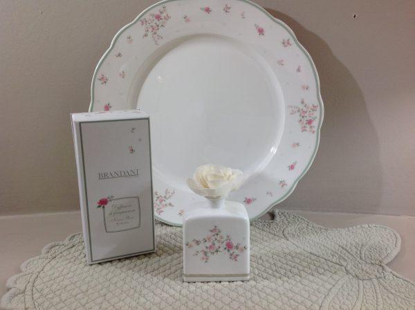 Brandani Flacone per profumazioni in porcellana con fiore Nonna Rosa