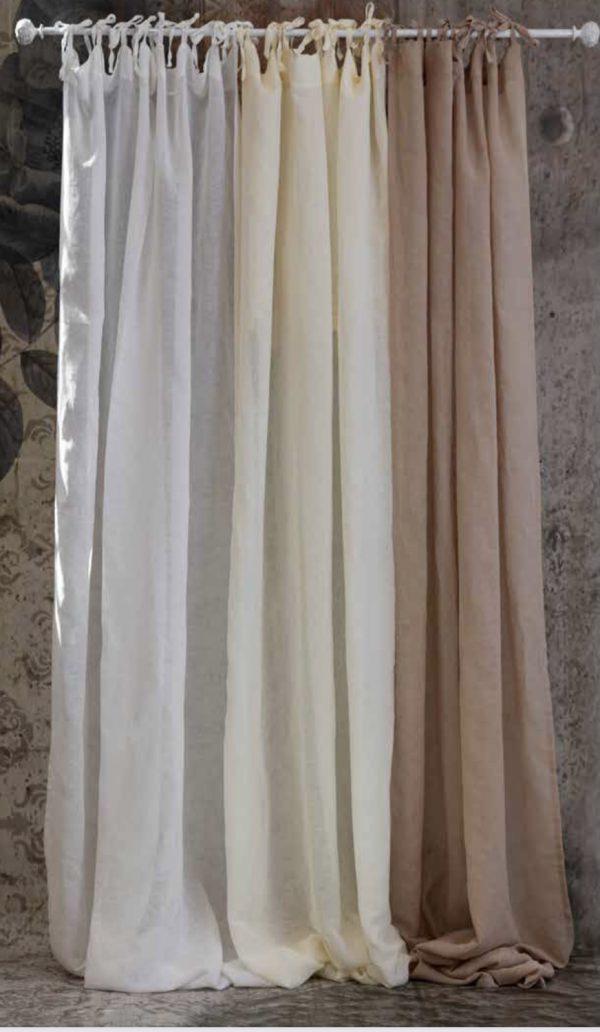L'Atelier 17 tenda misto lino con laccetti panna 140x290