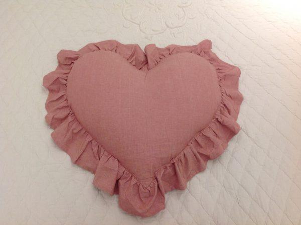 L'Atelier 17 Cuscino a cuore con frappa piccolo rosa scuro melange 40x45