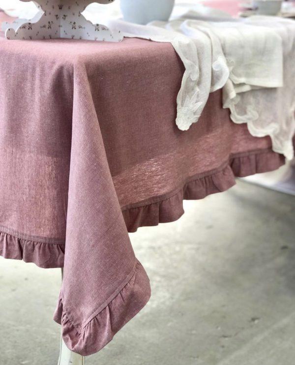 L'Atelier 17 Tovaglia rettangolare rosa scuro melange 140x270 con frappa