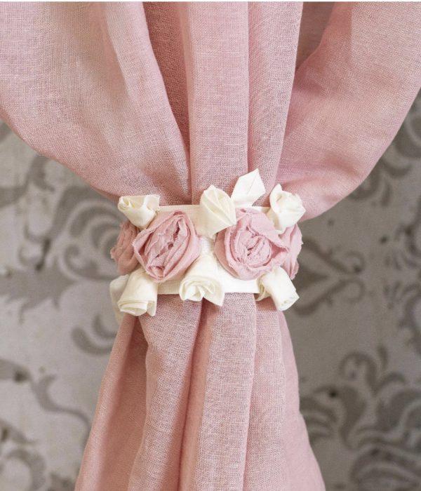 L'Atelier 17 Coppia di embrasse per tende con fiori rosa e bianchi