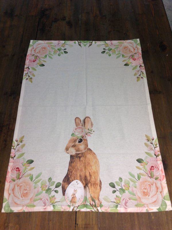 Blanc Mariclò Canovaccio in cotone fantasia rose con coniglietto