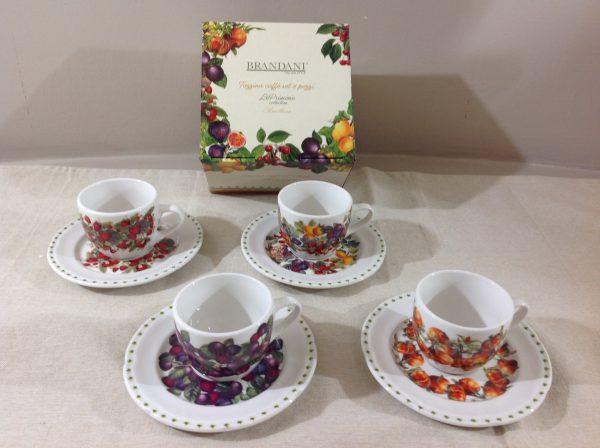 Brandani Set 4 tazzine da caffè in porcellana serie Le Primizie