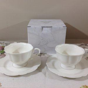 Brandani set 2 tazze da the in bone china serie Meringa