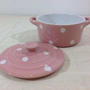 Isabelle Rose Pentolino con manici e coperchio rosa pois bianchi