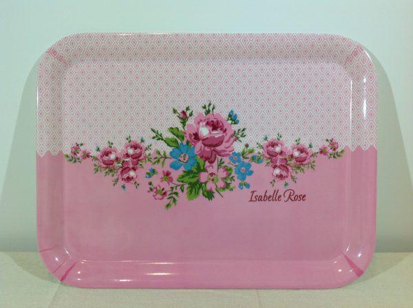 Isabelle Rose vassoio grande in melamina rosa, con rose e scritta Isabelle Rose