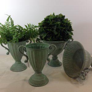 Bruco Coppa verde invecchiata con manici in ferro