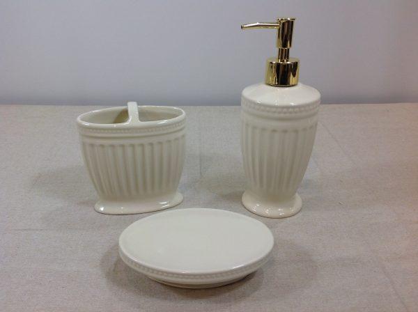 Preziosa Luxury Set 3 pz. per il bagno in porcellana panna