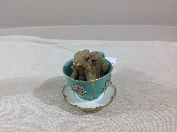 Coniglietto in tazzina verde e oro