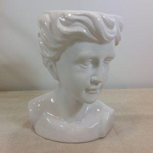 Vaso viso di donna in ceramica bianca