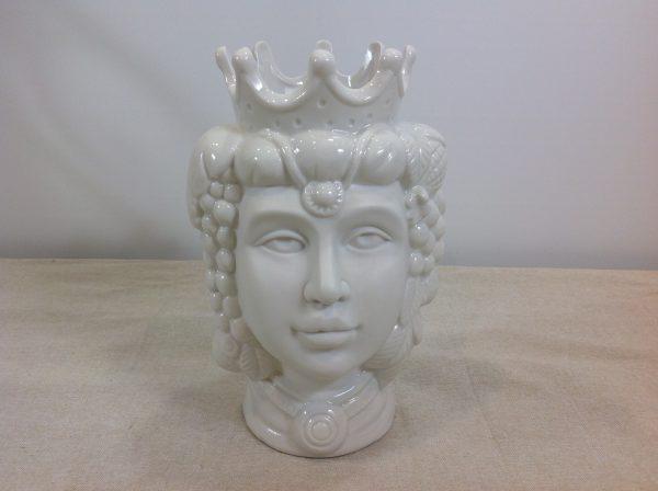 Vaso testa di moro Re in porcellana bianca