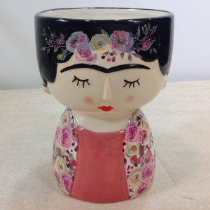 vaso con viso di donna e orecchini