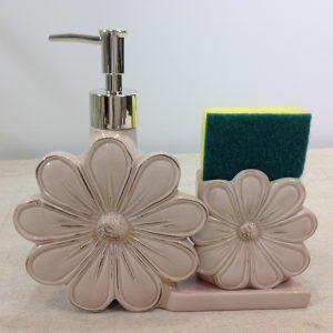 Montemaggi Dispenser sapone+spugnetta in ceramica rosa