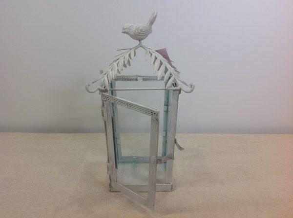 Antic Line lanterna in ferro bianco decapato con uccellino