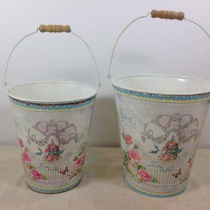 Antic Line Secchiello in latta con manico fantasia rose e varie