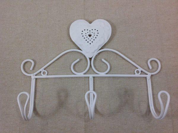 Montemaggi Appendino x 3 in ferro bianco con cuore