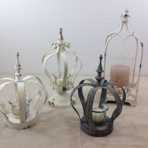Chic Antique Porta candela a corona in ferro grigio con bicchierino