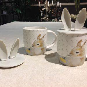 mug con coniglio e tappo in silicone con orecchie