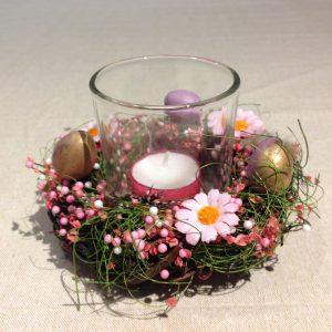 Porta candela Pasquale con ovette rosa scuro e oro