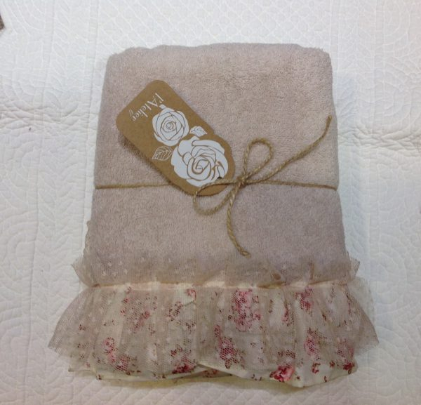 L'Atelier 17 Coppia asciugamani 1+1 in spugna panna Pliè