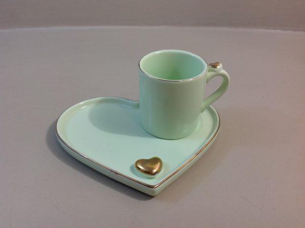 Hoff Interieur Tazza da the verde acqua chiaro con piattino a cuore e cuoricini oro