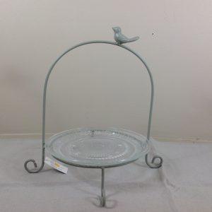 Clayre & Eef Alzatina in ferro grigio con uccellino e piattino