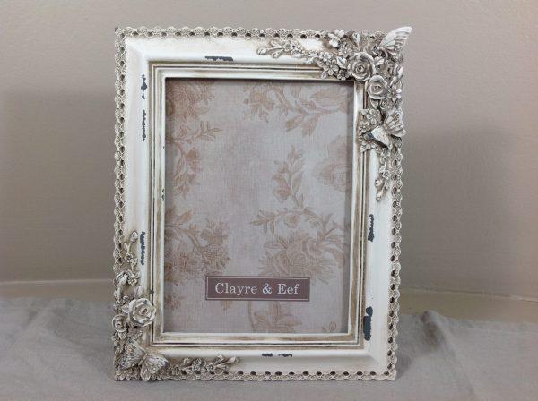 Clayre & Eef Porta foto cornice panna decapata con fiori e farfalle