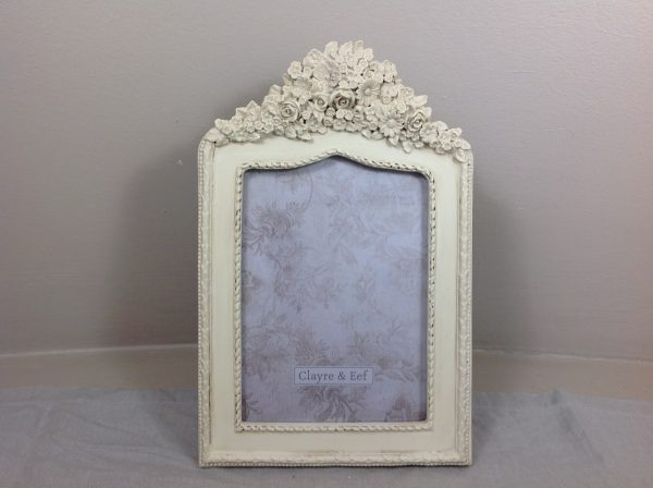 Clayre & Eef Porta foto in resina panna con ramage di fiori