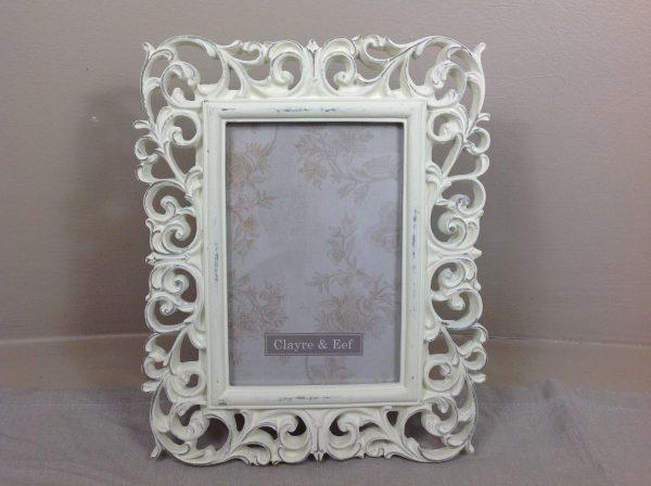 Clayre & Eef Porta foto bianca anticata con intarsi