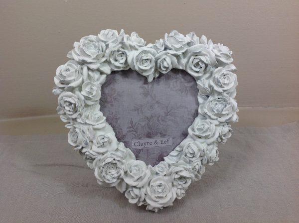 Clayre & Eef Porta foto a cuore bianca con roselline