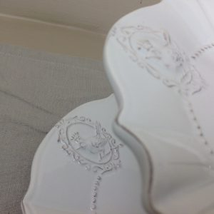 Clayre & Eef Alzata x 2 piani bianca con fregi
