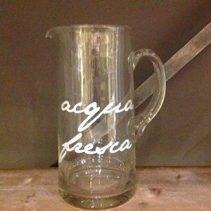 Simple Day Brocca in vetro scritta bianca Acqua Fresca