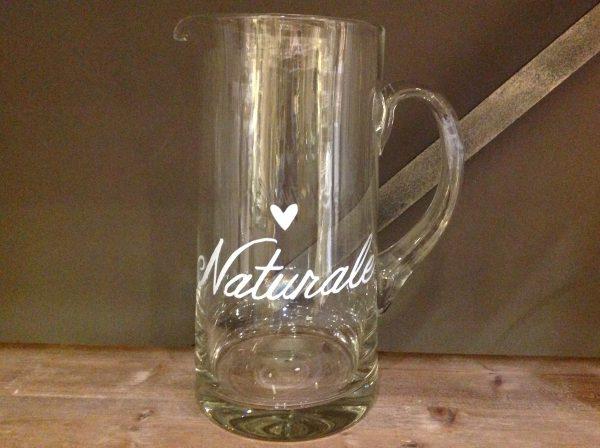 Simple Day Brocca in vetro con scritta bianca Naturale con cuoricino