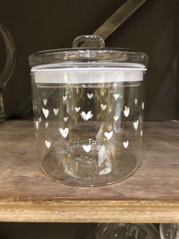 Simple Day Barattolo ermetico in vetro con cuoricini bianchi