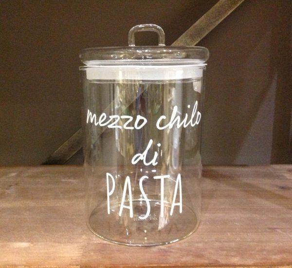 Simple Day Barattolo in vetro ermetico con scritta bianca Mezzo chilo di Pasta