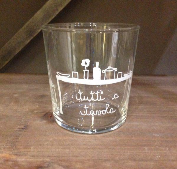 Simple Day Bicchiere in vetro con scritta bianca - TUTTI A TAVOLA